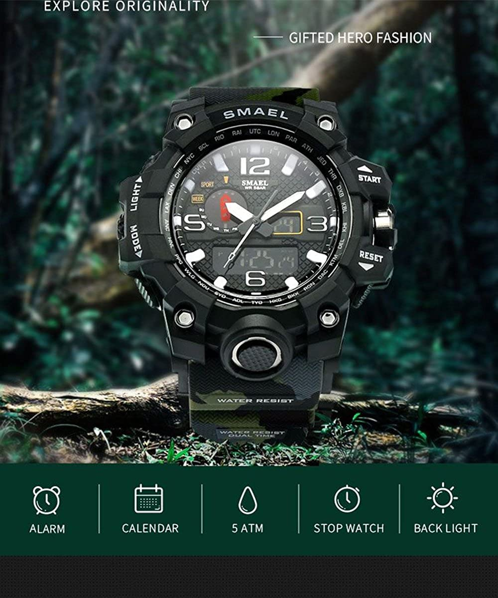 Amazon.com: Analog Quartz Digital Watch Men LED Sports Watches Mens Military Clock Waterproof Green: Watches