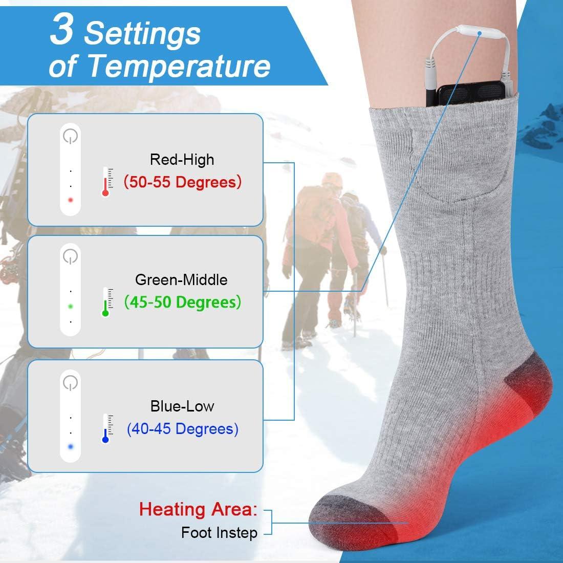 DOACT Calcetines Termicos para Trabajo Calcetines Altos de Invierno con 3 Archivos de Temperatura Ajustables para Hombre Mujer Calentador de Pies para Ciclismo Esqu/í Camping Senderismo Caza