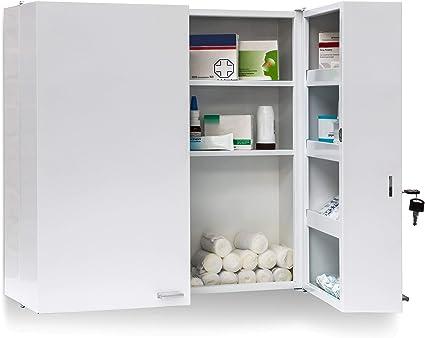 Relaxdays 10019095 Armoire A Pharmacie Acier Xxl Toilette Medicaments Salle De Bain 2 Portes Cles 11 Etageres De Rangement H X L X P 53 X 53 X 20 Cm Blanc Amazon Fr Cuisine Maison