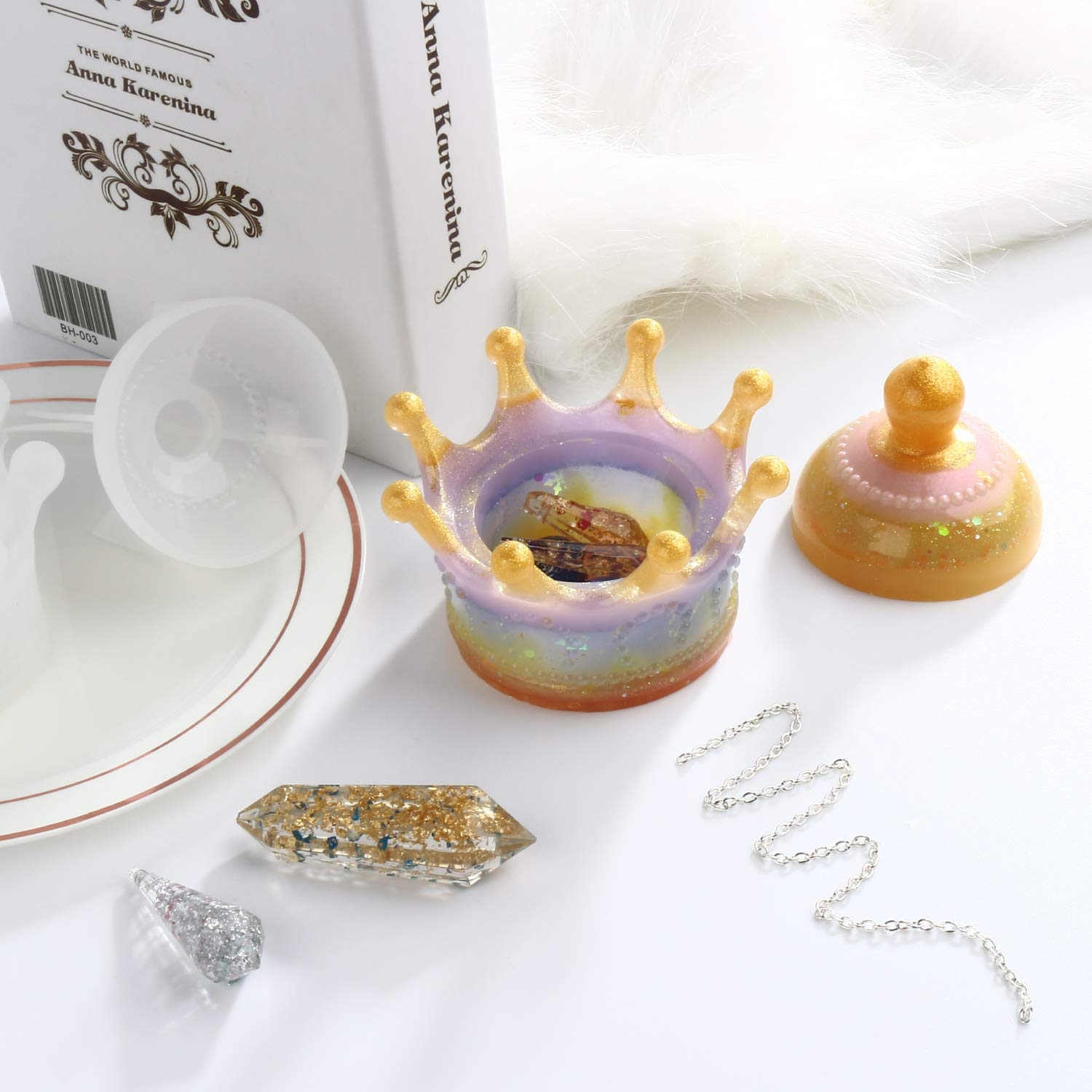 LETS RESIN Resin Trinket Box Molds Small Size Silicone Jewelry Box Molds Epoxy Resin Molds for Jewelry Storage Candlestick,Pen Holder