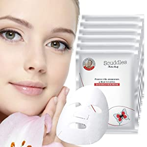 Korean Collagen Face Mask Sheet, Deep Moisturizing Instant Hydrating Hyaluronic Acid Facial Masks for Skin Brightening Anti-Aging Anti-Wrinkle with Stem Cell Extracts & Peptide