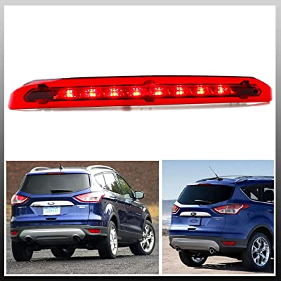 for 2013-2020 Ford Escape LED Bar 3rd Third Tail Brake Light Rear Lamp High Mount Stop light (Chrome Housing Red Lens): Automotive