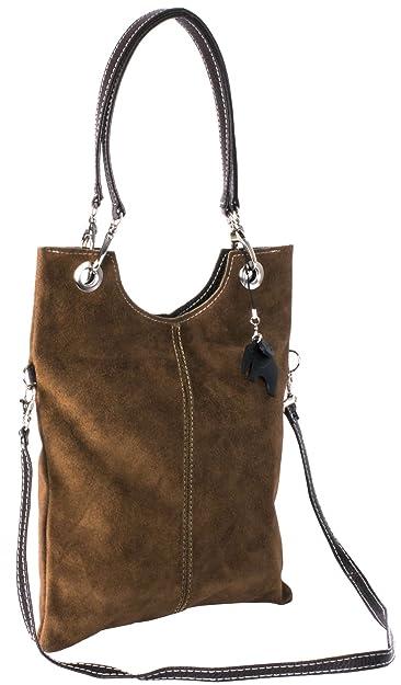 d82a6defd7 Big Handbag Shop Suede Leather Plain Top Handle Evening Clutch Shoulder Bag  (Dark Tan)