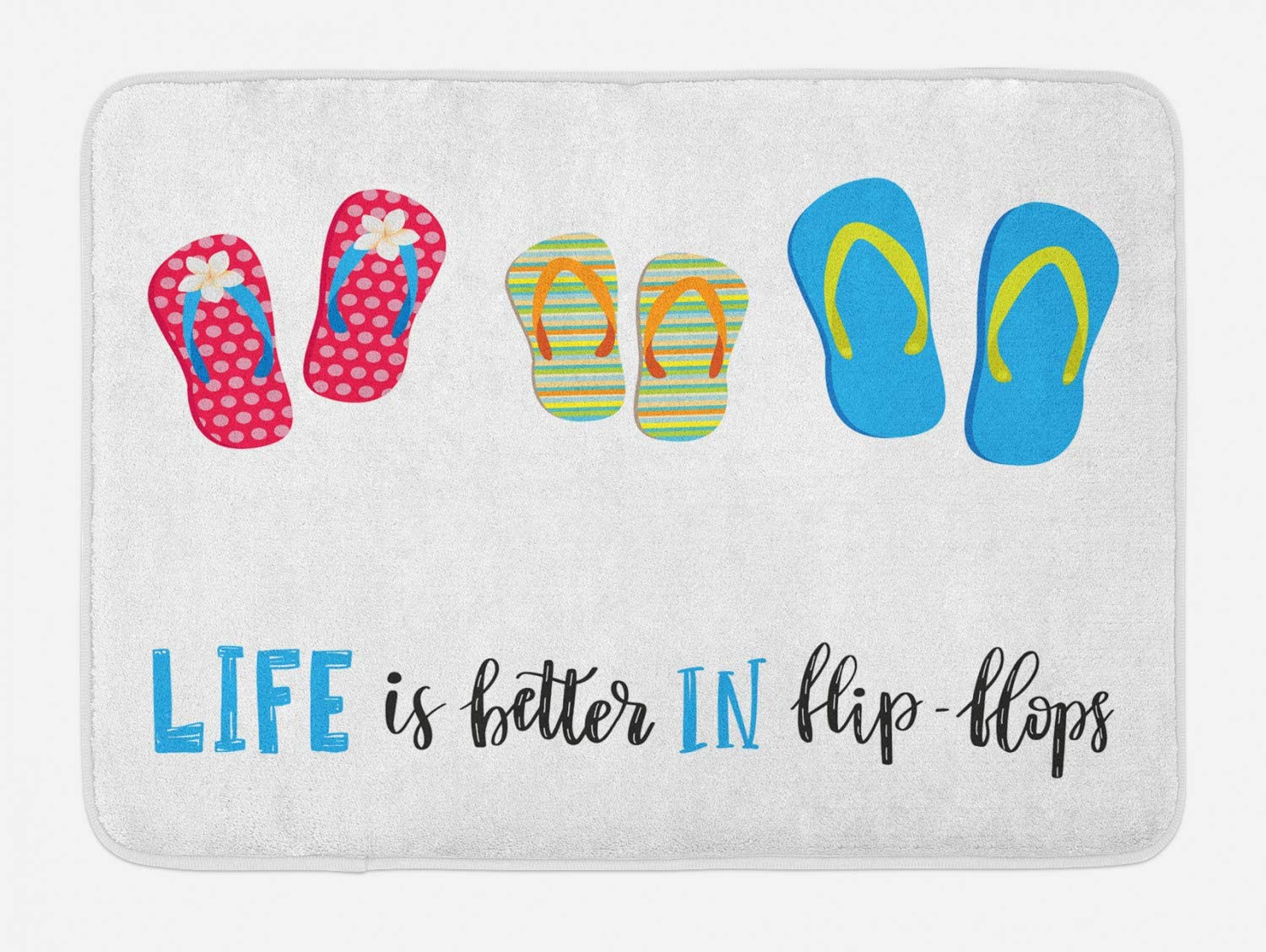 "Lunarable Ocean Saying Bath Mat, Summer Love Saying with Life is Better in Flip Flops Calligraphy Beach Shoes, Plush Bathroom Decor Mat with Non Slip Backing, 29.5"" X 17.5"", White Blue"
