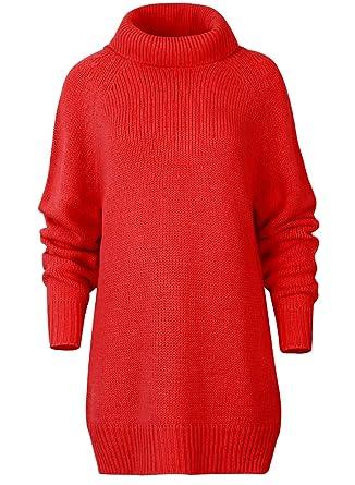 62da5a560fb ililily Women Raglan Longline Turtleneck Tunic Ribbed Knit Sweater Dress  Jumper