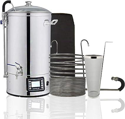 Pack completo para hacer 30 litros de cerveza artesana | Hervidor de 40 litros | Chiller enfriador 17 espirales | Chaqueta aislante | Whirlpool | Hop Spider