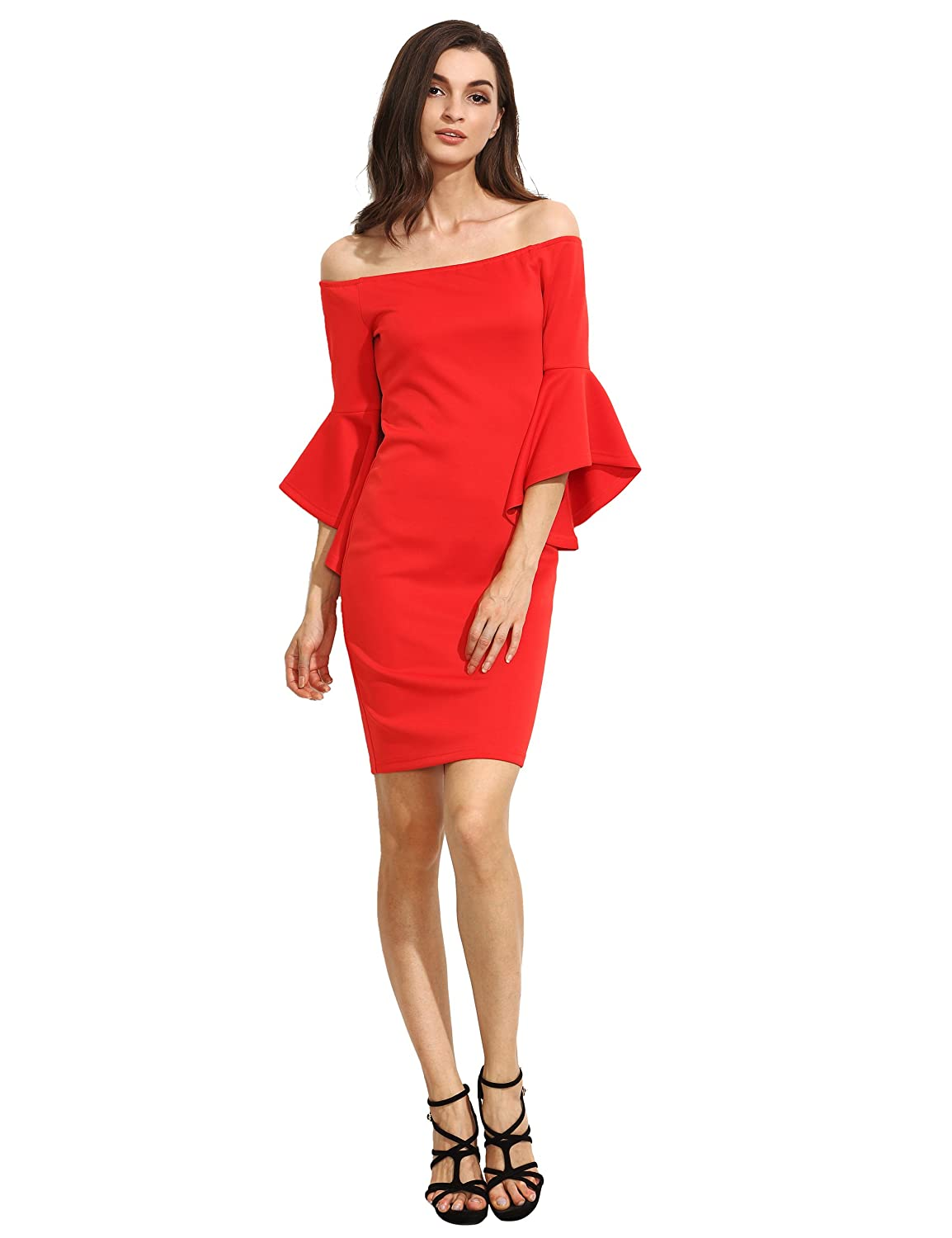 Amazon.com: Floerns Womens Ruffle Off Shoulder Bell Sleeves Knee Length Bodycon Pencil Dresses: Clothing