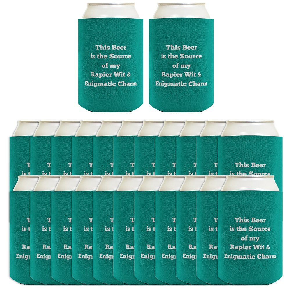 Personalized Coolies Any Text Custom Coolie 24-pack Can Coolie Drink Coolers Custom Coolies Teal by Personalized Gifts