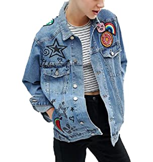 9689ae87abb3 AngelSpace Women Embroidered Popular Basic Graphic Print Denim Jacket  Outwear