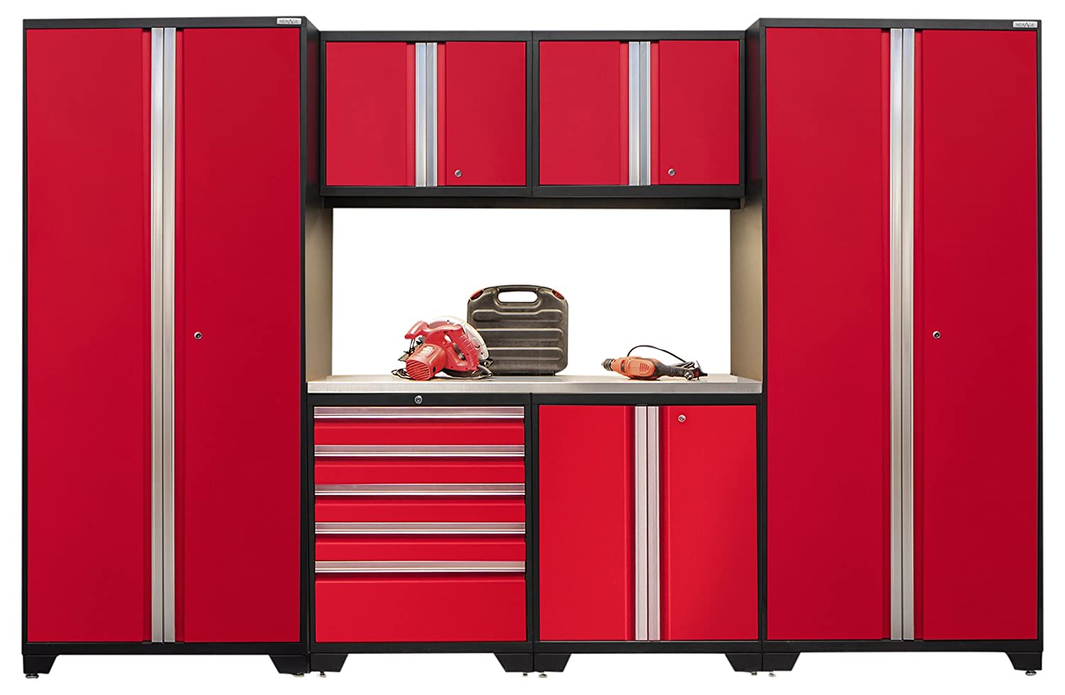 NewAge Products 52253 Pro 3.0 Series Stainless Steel Storage Set (7 Piece), Red