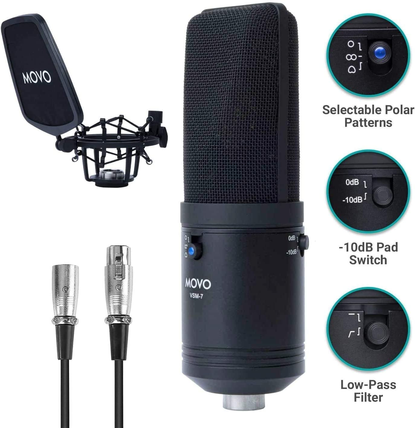 Movo VSM-7 Large Diaphragm, Multi-Pattern Studio Condenser Microphone with Shock Mount, Pop Filter, and XLR Cable - Studio Microphone for Music, Vocals, Podcasting, Gaming, Streaming and More