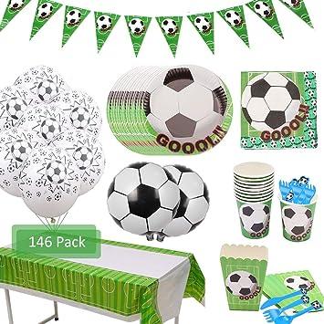 Amycute 146 Piezas 20 Invitados Vajilla de fútbol cumpleaños ...