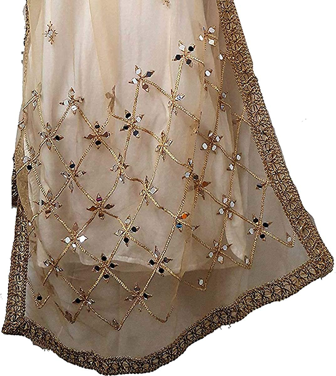 New White Net dupatta head cover ladies Scarf With Golden Kundan Stones