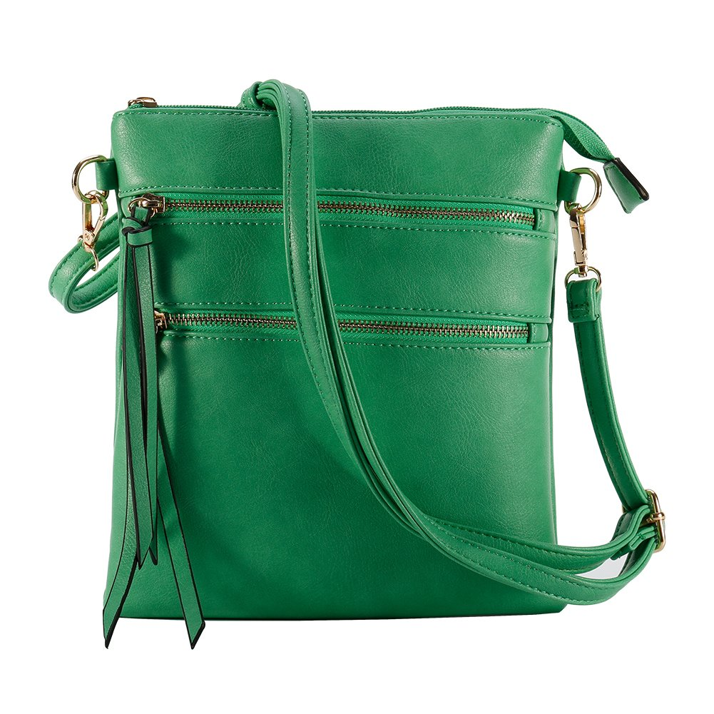 Functional Multi Pocket Crossbody Bag, Lightweight, Green