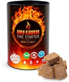 Inferno Fire Starter Cubes (100 Pack) Organic Lighter Cubes Perfect for a Rapid Start of Charcoal BBQ, Grill, Fireplace, Campfire, Wood Stove & Outdoor Fires - All Natural and Waterproof