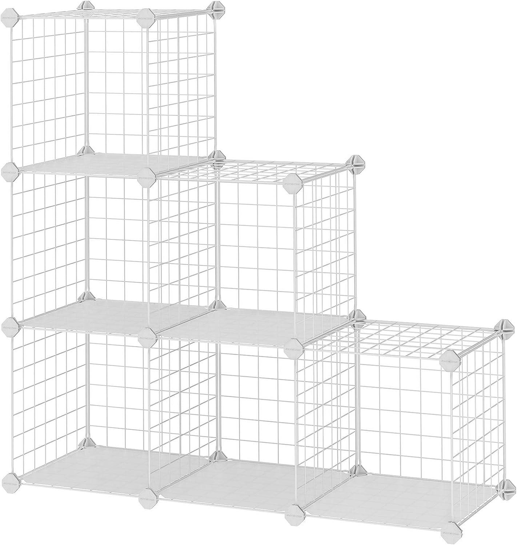 SONGMICS Armario Modular de Malla de Hierro, Armario de Almacenaje con 6 Cubos, Estantería Modulable, Organizador Multiuso para Libros, Ropa y Zapatos, Habitación Infantil y Entrada, Blanco LPI111W