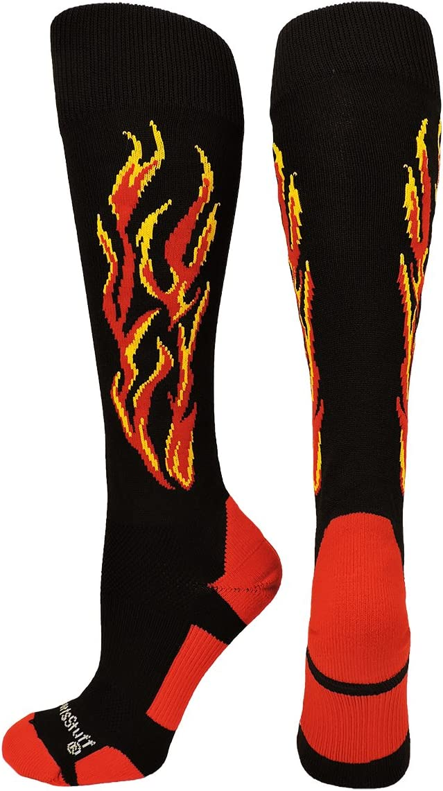 MadSportsStuff Flame Soccer Style Over The Calf Athletic Socks (Multiple Colors) : Clothing