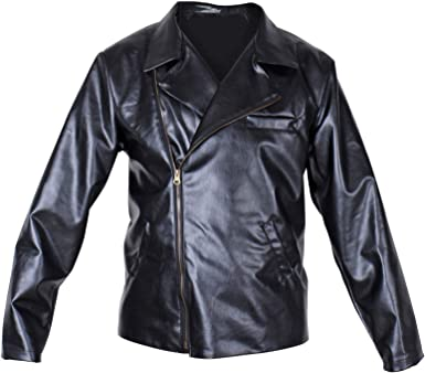 Greaser Mens Adult Black 50s Faux Leather Halloween Costume Jacket