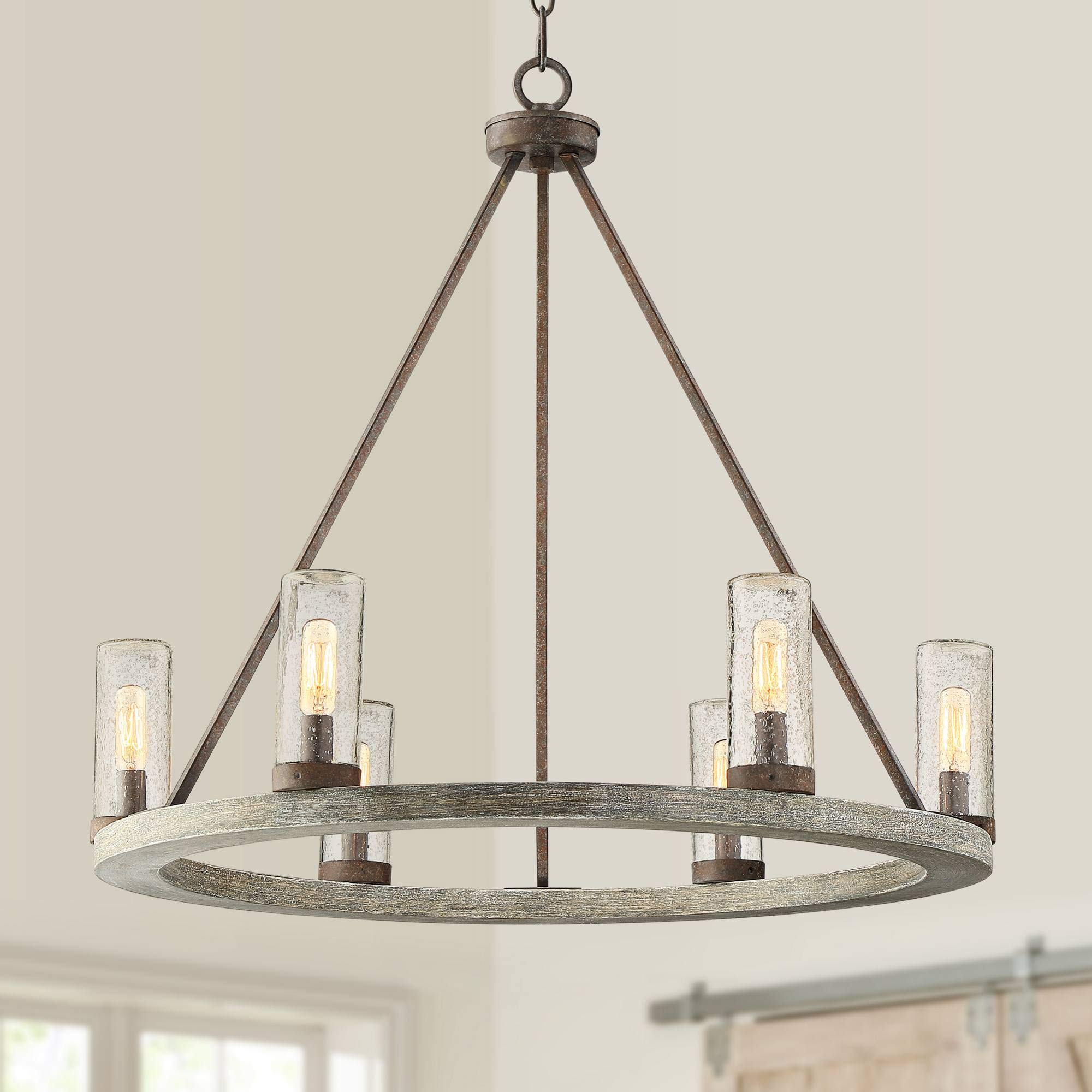 Lillian 27'' Wide Gray Wood and Bronze 6-Light Chandelier - Franklin Iron Works