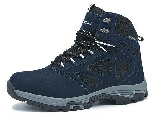 Knixmax-Botas de Montaña para Hombre, Zapatillas de Senderismo Impermeable Antideslizante Zapatos de Deporte Exterior Calzado de Alta Caña Trekking Sneakers ...