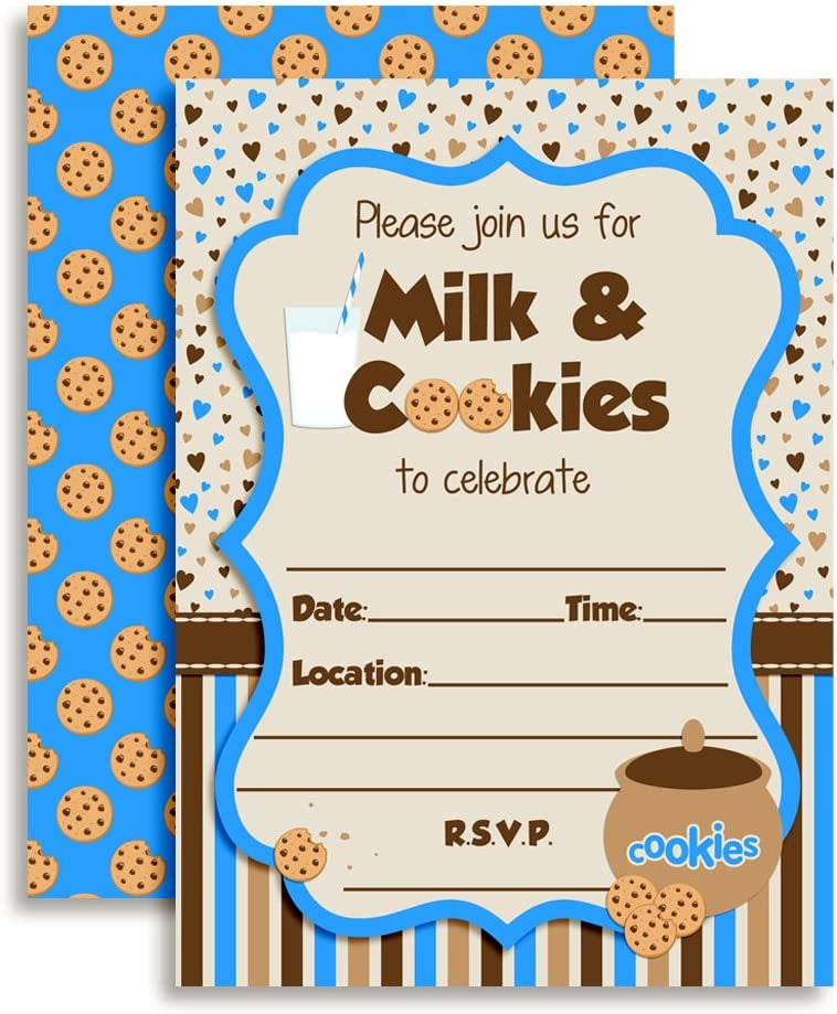 Amanda Creation Milk and Cookies Boy Birthday Party Fill in Invitations Set of 20 with envelopes