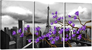 Zlove 3 Pieces Paris Landscape Canvas Wall Art Eiffel Tower with Purple Magnolia Flowers Abstract Cityscape Artwork Giclee Print for Living Room Decor Ready to Hang 16x24inchx3pcs