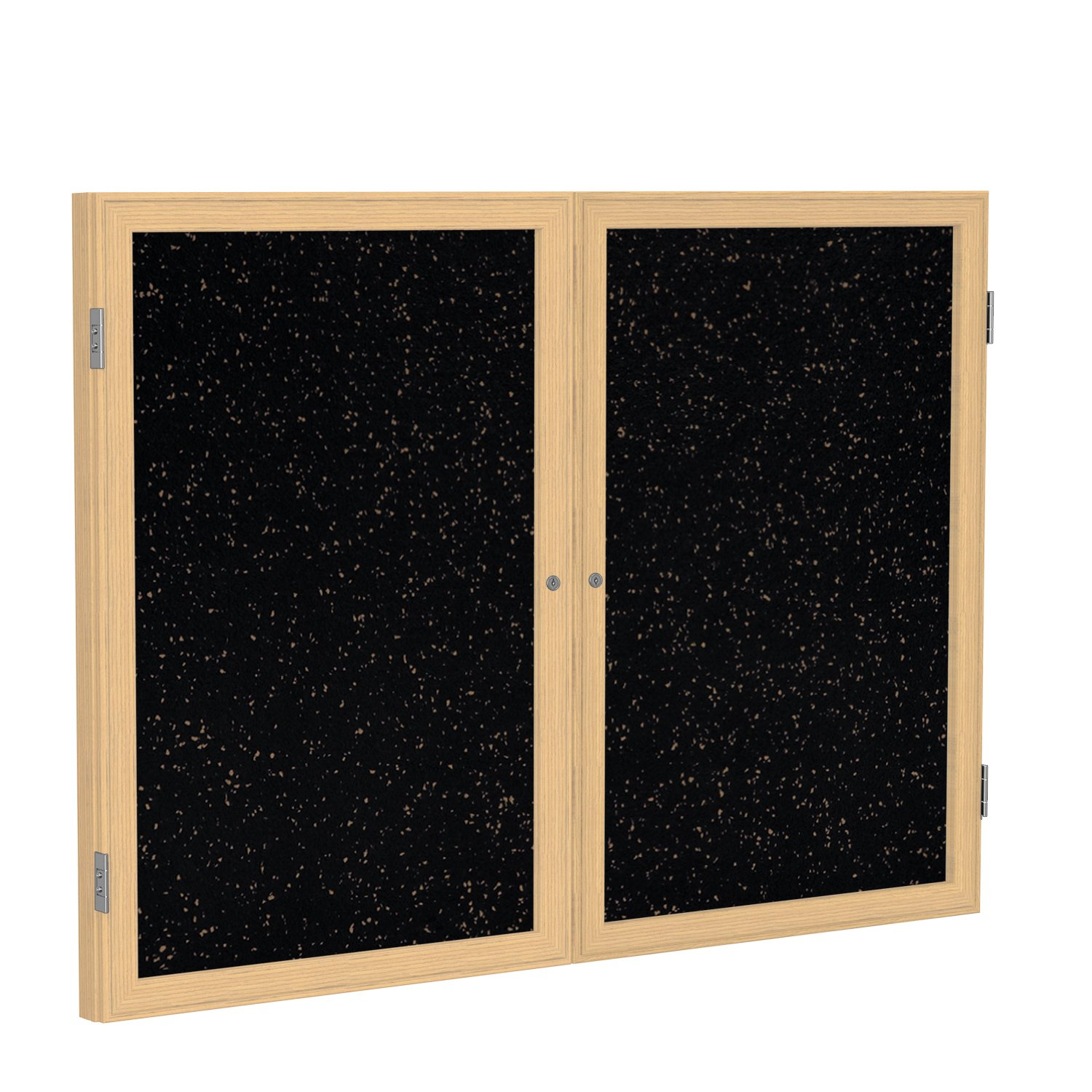 Ghent 36''x48'' 2-Door indoor Enclosed Recycled Rubber Bulletin Board, Shatter Resistant, with Lock, Wood Frame Oak Finish-Tan Speckled (PW23648TR-TN), Made in the USA