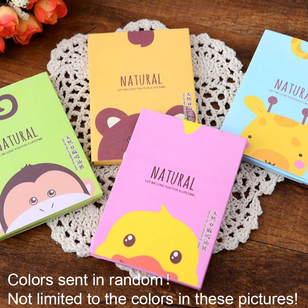 50x Facial Oil Control Film Wipes Sheets Absorbing Face Blotting Paper Grease(cartoon patternrandom color)