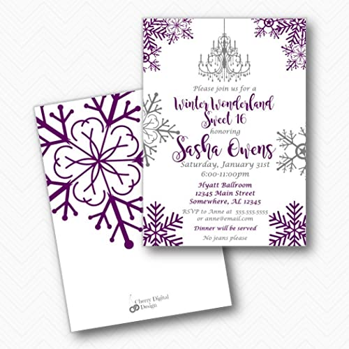 Image Unavailable Not Available For Color Winter Wonderland Sweet 16 Sixteen Birthday Party Invitations