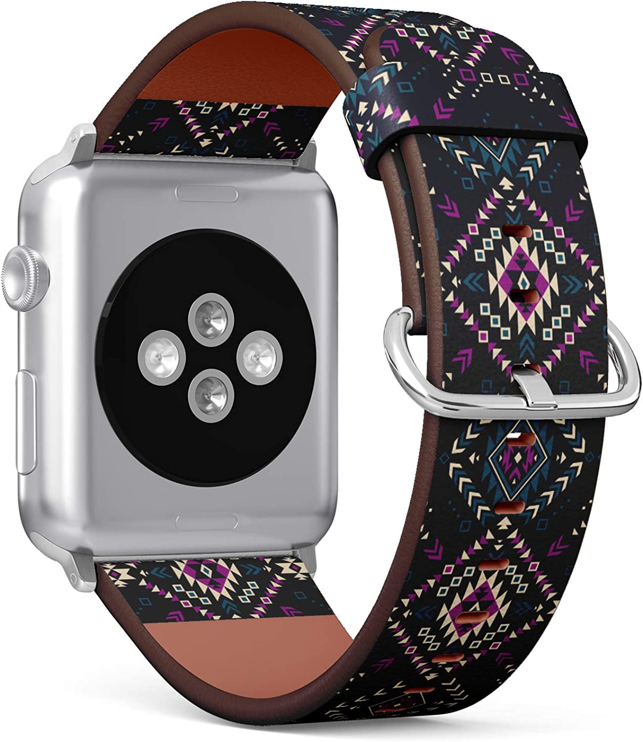 (Tribal Navajo Pattern with Aztec Fancy Abstract Geometric Art) Patterned Leather Wristband Strap for Apple Watch Series 4/3/2/1 gen,Replacement for iWatch 38mm / 40mm Bands