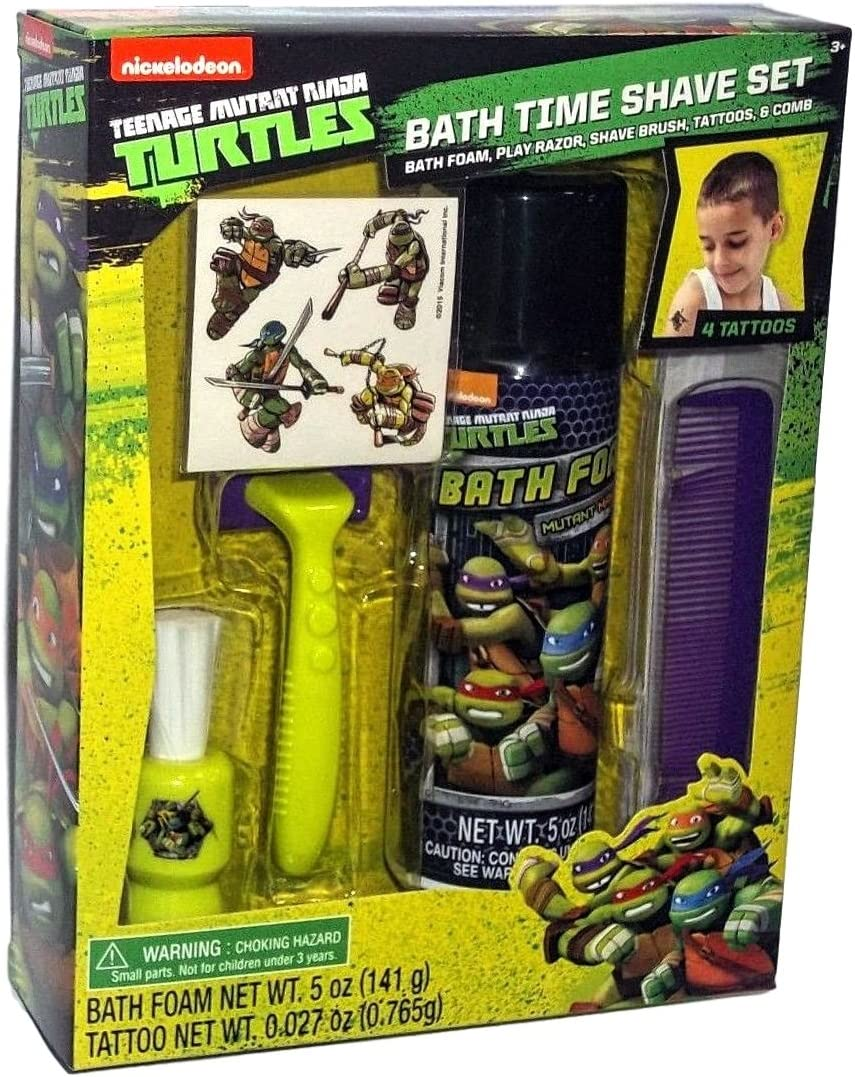Teenage Mutant Ninja Turtles Kid Bath Time Toy Shave kit Set 4 Temporary Tattoos