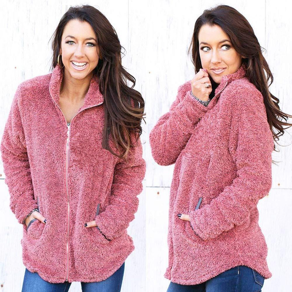 Fluffy Jacket for Women Laimeng/_World Women Plush Outwear Winter Warm Pure Color Coat Jumper Overcoat Jacket