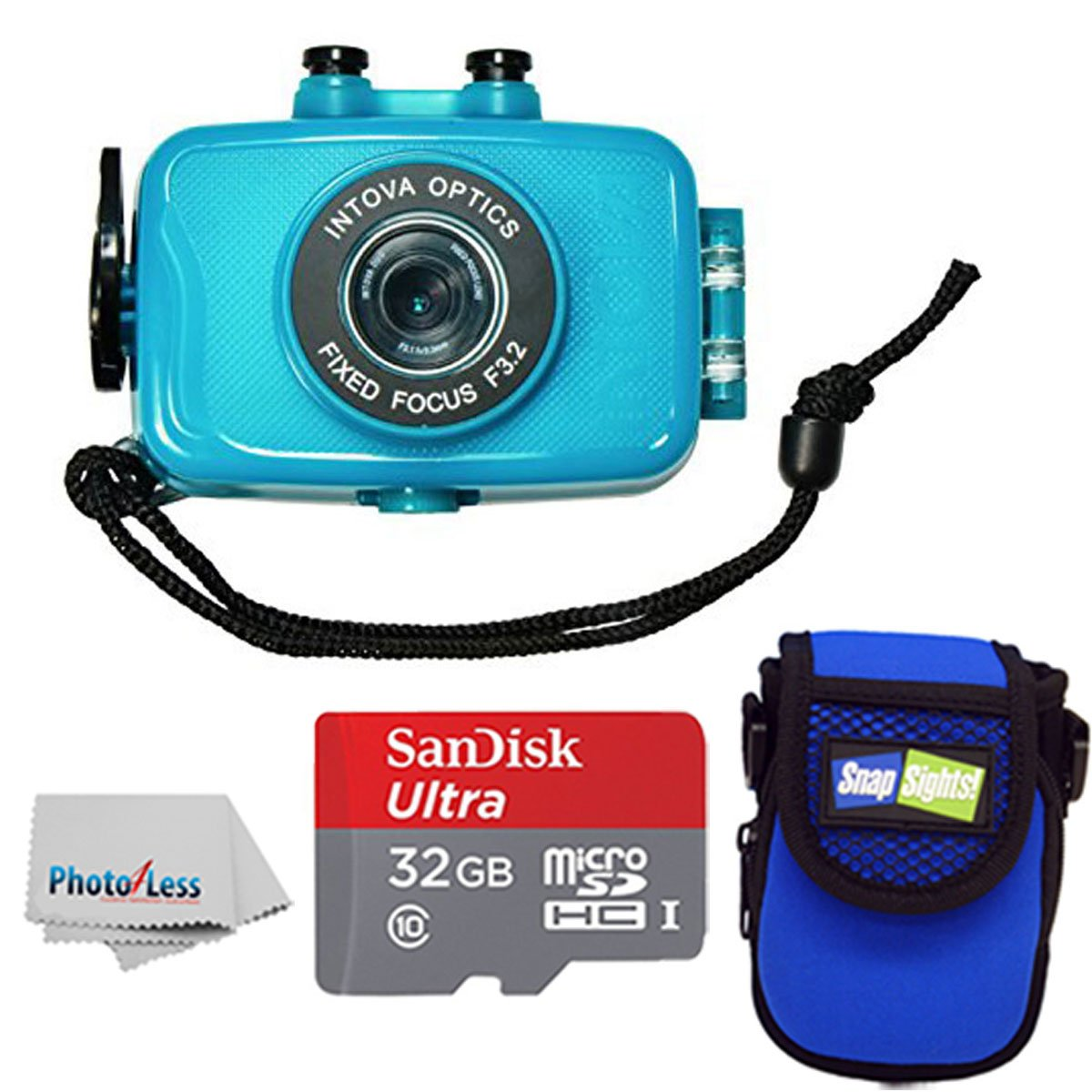 Intova Duo Waterproof HD POV Sports Video Action Camera With Compact Case + 32GB microSDHC UHS-I Card with Adapter + Clean Cloth (Aqua) by Intova
