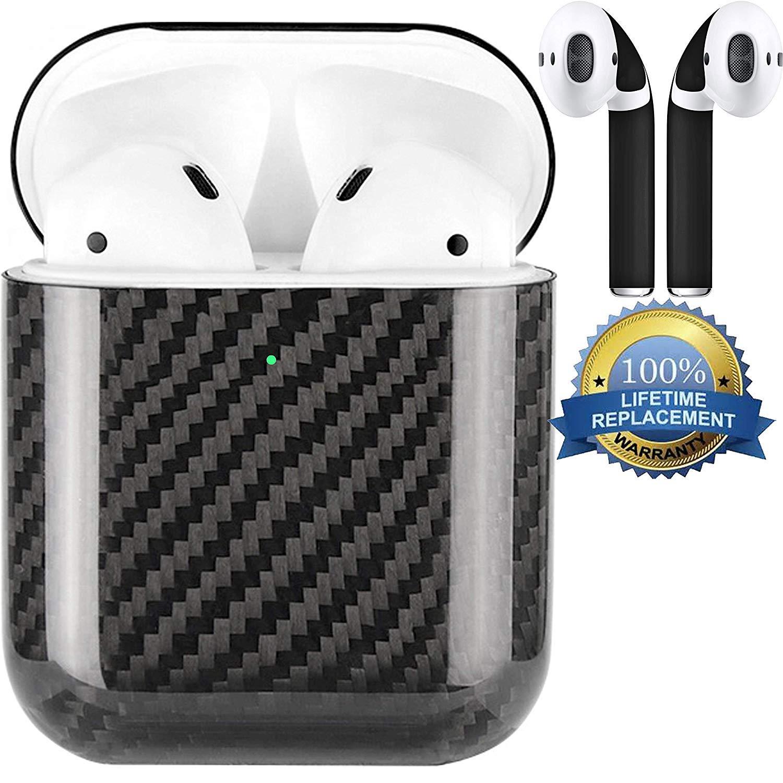 APSkins 純正カーボンファイバー (ブラック) ハードシェルケース Apple AirPods 2対応 (充電ライト可) APSkins ブラック Air Podsスキンラップ付き ブラック CFCaseBlack_Gloss2  ブラック B07QX2QMPH