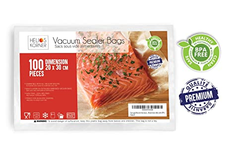 Bolsas al vacío para alimentos, 20 x 30 cm, paquete de 100 ...