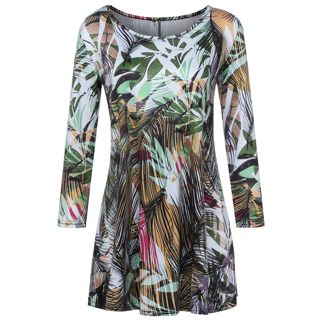 GOVOW 3/4 Sleeves Tees for Women Fashion Womens Casual Floral Print Shirts O-Neck Tunic Blouse Tops