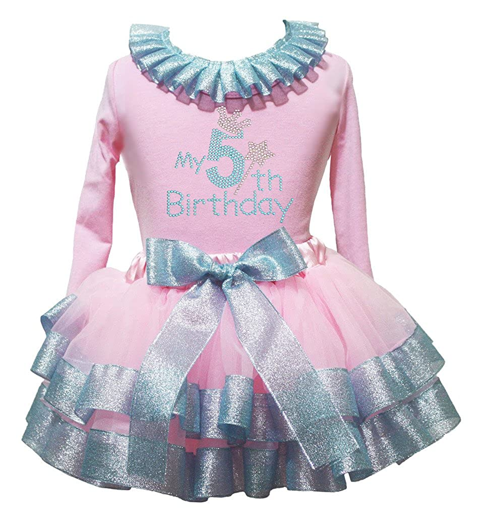Petitebella My 5th Birthday Pink L//s Shirt Light Blue Ribbon Petal Skirt Nb-8y