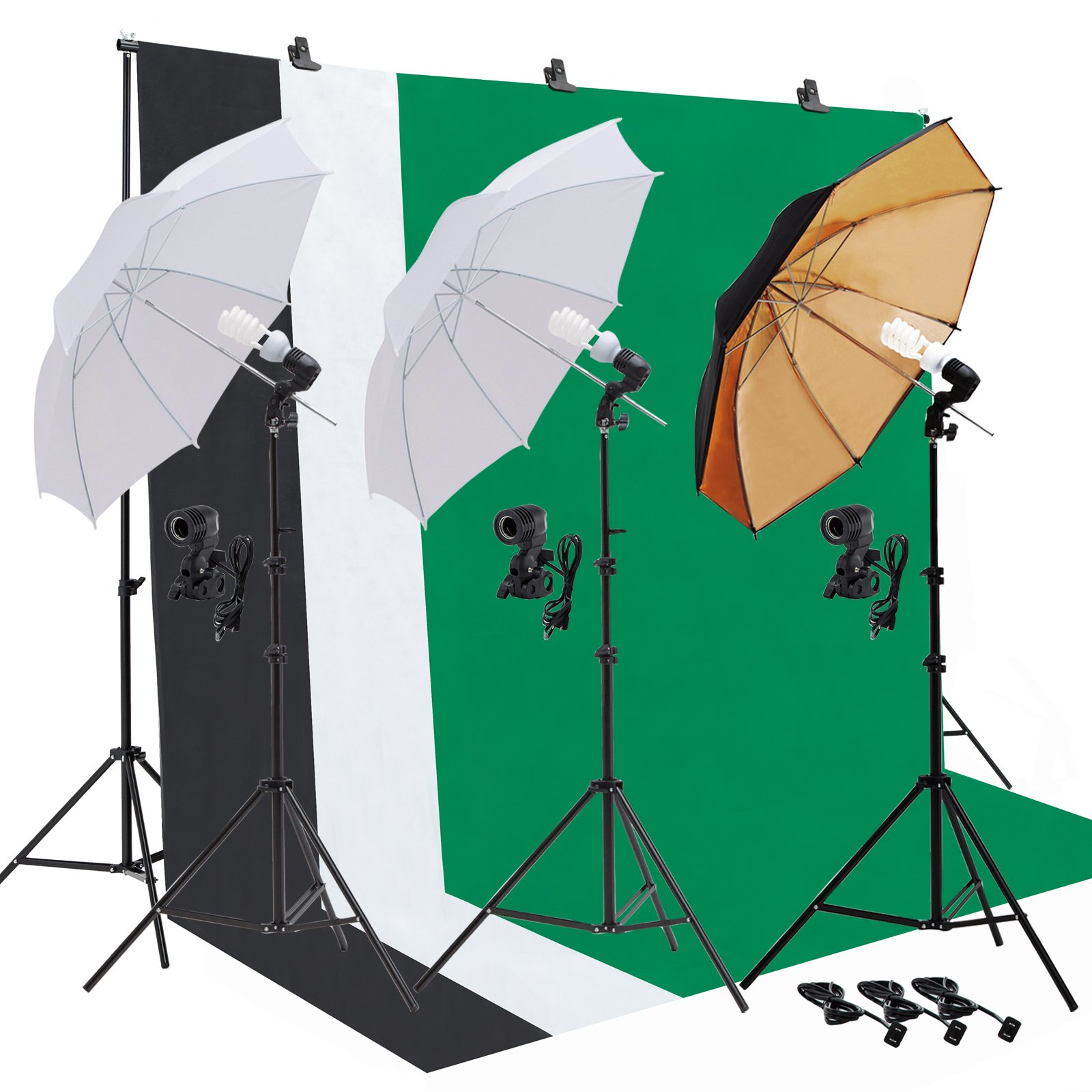 SUNCOO Video Studio Umbrella Lighting Kit,Green Screen with Stand, Continuous Lights with 10ft Background Support Stand System Backdrop Portable Bag, 3 Bulbs, Portfolio Shooting by SUNCOO (Image #1)