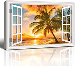 The Melody Art - White Window Looking Out Into Beautiful Sunset Over The sea with Palms on The White Beach at Sunset - Canvas Wall Art Home Decor - 16x24 inches