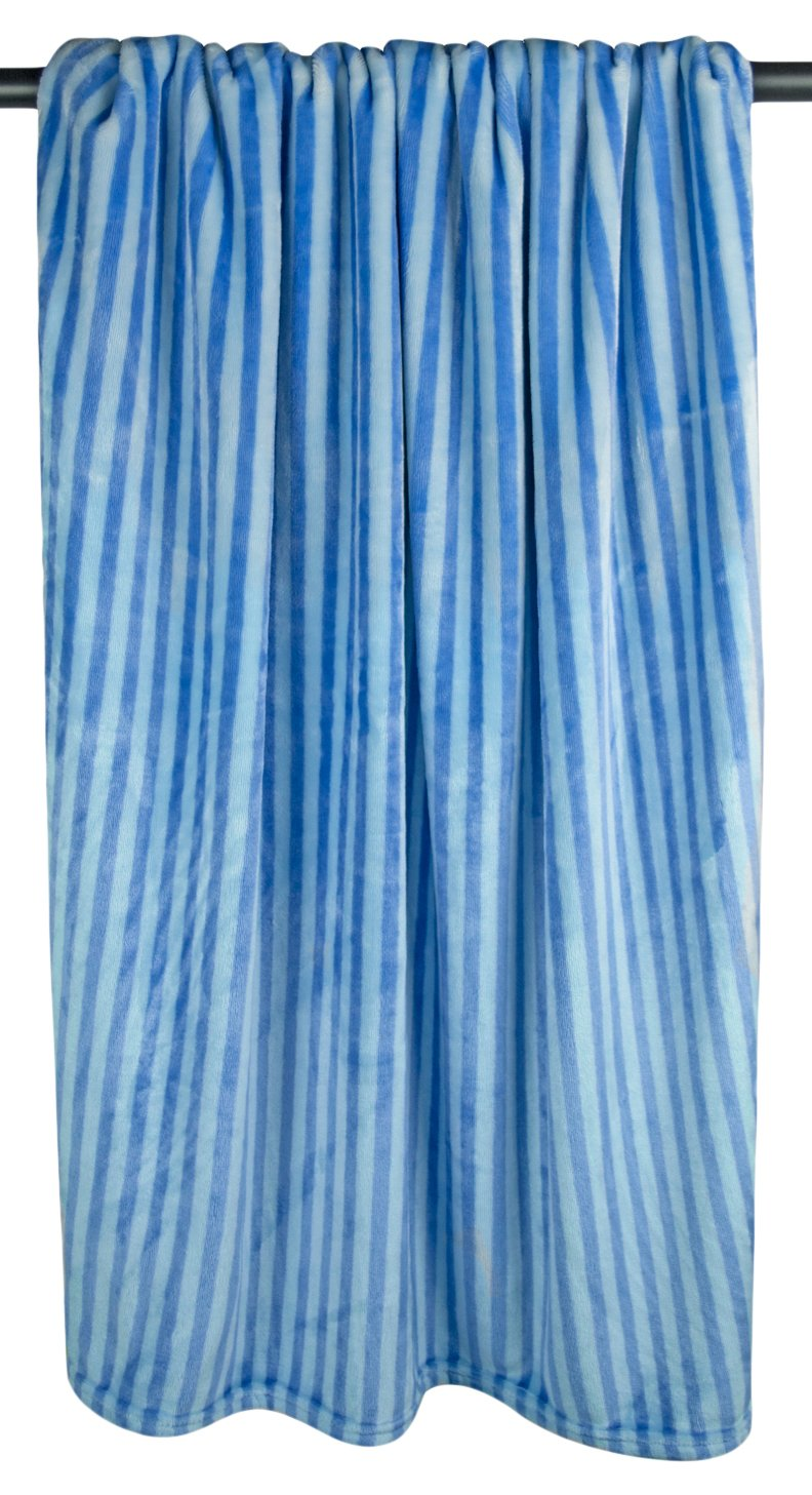Bone Dry DII Microfiber Pet Blanket for Dogs and Cats, 36x48, Warm, Soft and Plush for Couch, Car, Trunk, Cage, Kennel, Dog House-Blue Stripes