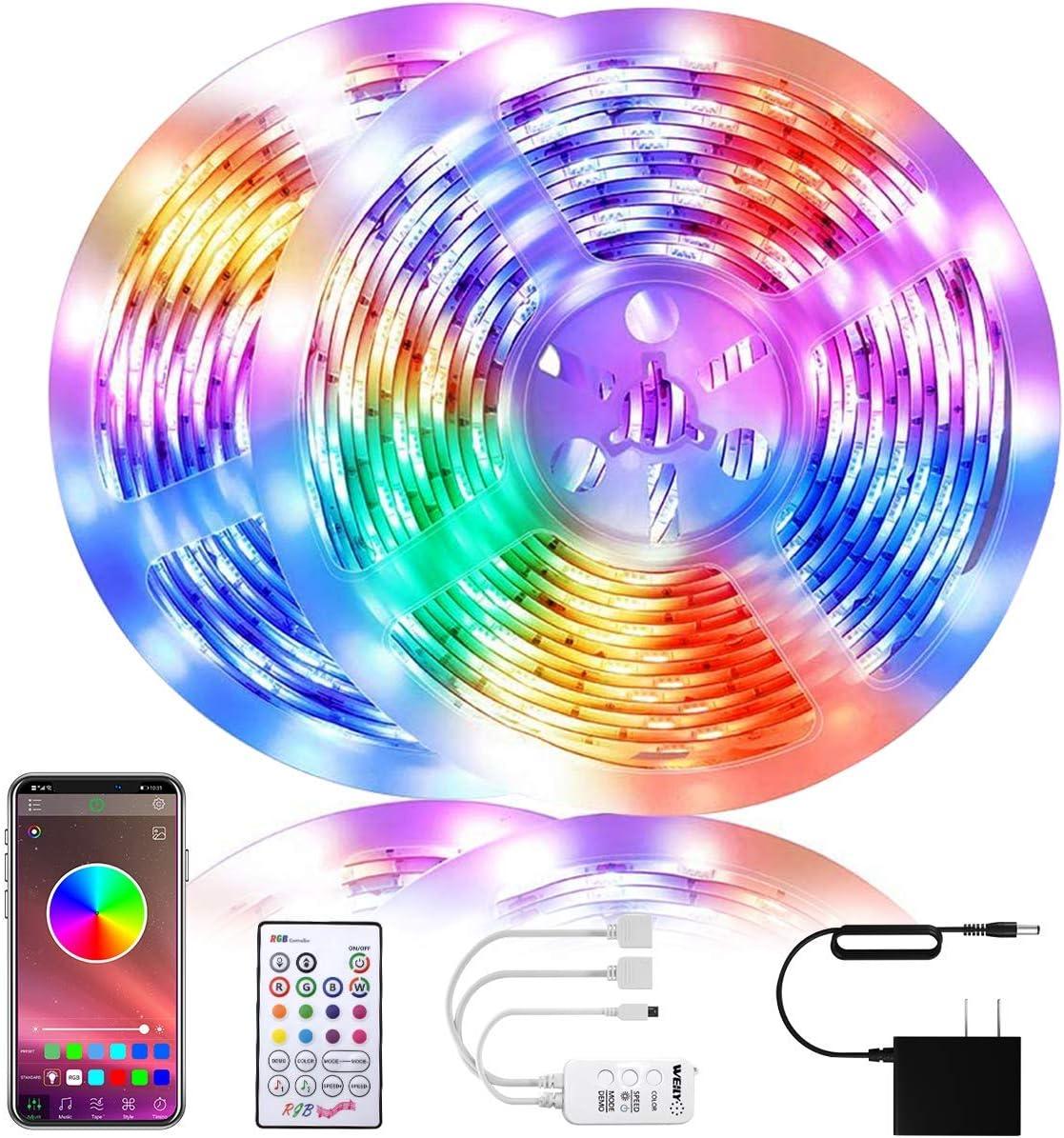 WEILY LED Strip Lights 32.8ft, Bluetooth RGB Color Changing LED Lights for Home, Kitchen, Room, Bedroom, Dorm Room, Bar, with IR Remote Control,300 5050 LEDs, DIY Mode