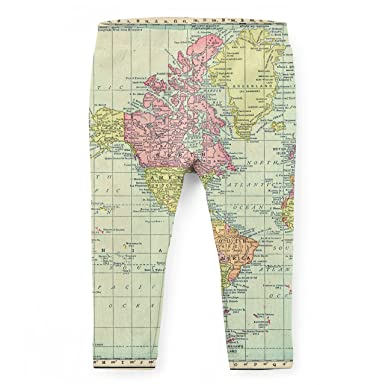 Amazon.com: Antique World Map 1913 Kids Leggings: Clothing