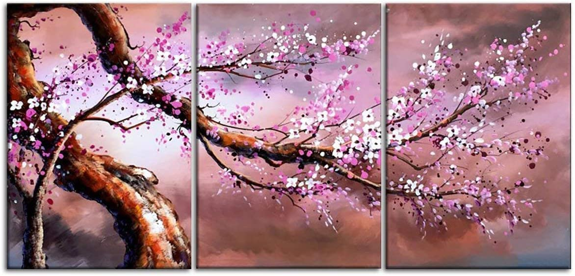 3 Piece Hand Painted Oil Paintings on Canvas Home Decor Modern Wall Art Cherry Blossom Tree Pictures for Living Room Bedroom Kitchen Office Gallery Wrap Framed Stretched Ready to Hang 60 Wx28 H