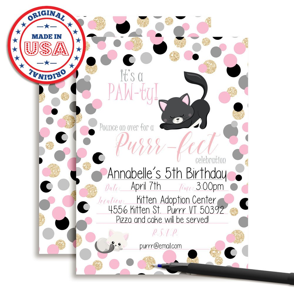 Amazon Pink And Gold Polka Dot Glitter Kitty Cat Birthday Party Invitations 20 5x7 Fill In Cards With Twenty White Envelopes By AmandaCreation Toys