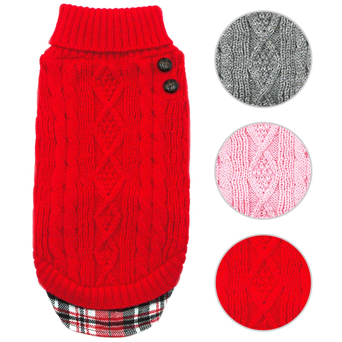 kyeese Small Dog Sweaters with Leash Hole Gingham Patchwork Doggie Sweater Knitwear Pullover Warm Pet Sweater for Fall Winter by kyeese