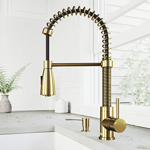 VIGO Commercial Single Hole Lead-Free Single Handle Dual Action Solid Brass Kitchen Sink Brant Smart Faucet, Kitchen Faucets With Pull Down Sprayer and Soap Lotion Dispenser in Matte Brushed Gold