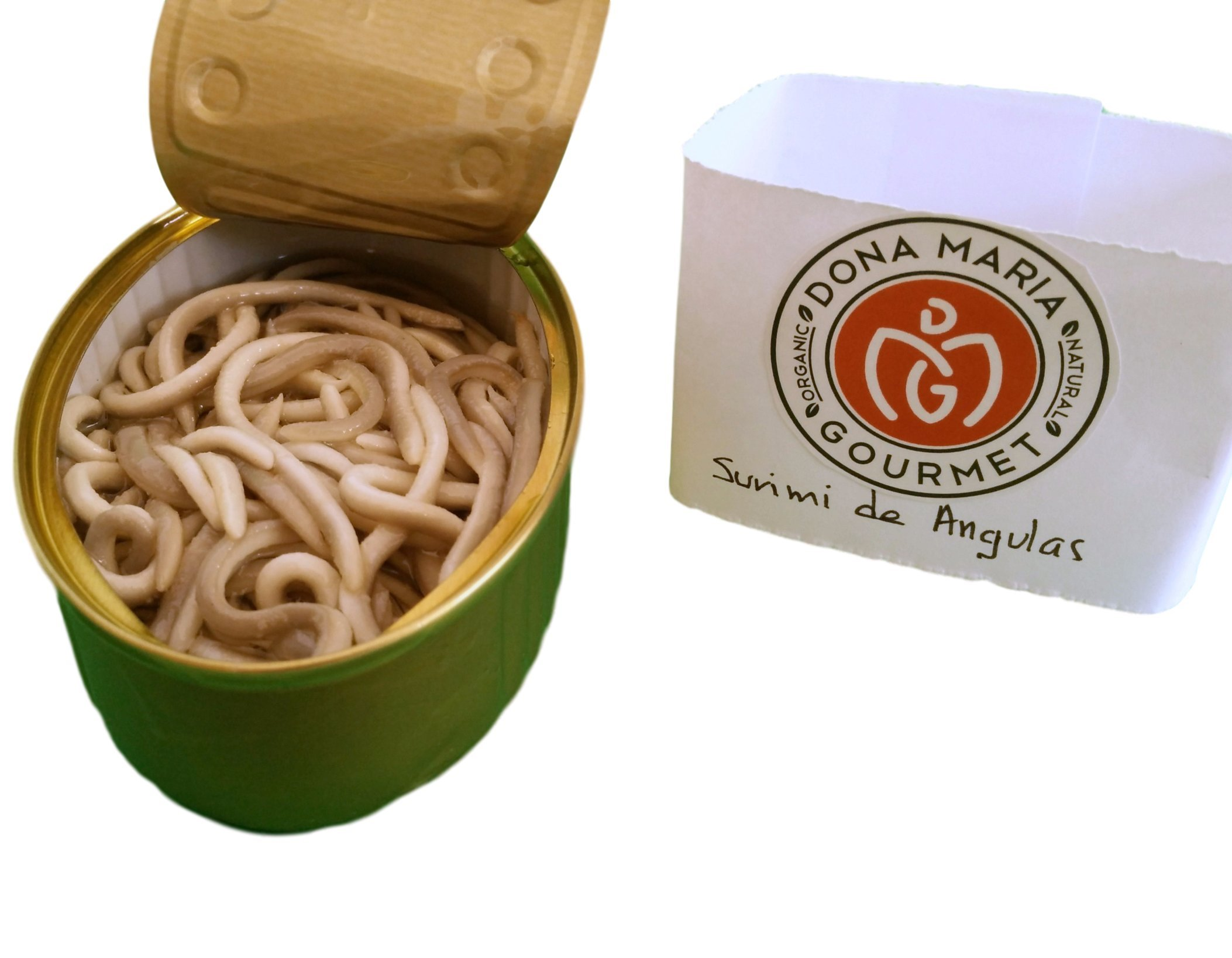 Surimi of Baby Eels in Garlic and Olive Sauce Pack of 2 Gluten Free (Angulas, Eelbroods) by Dona Maria Gourmet