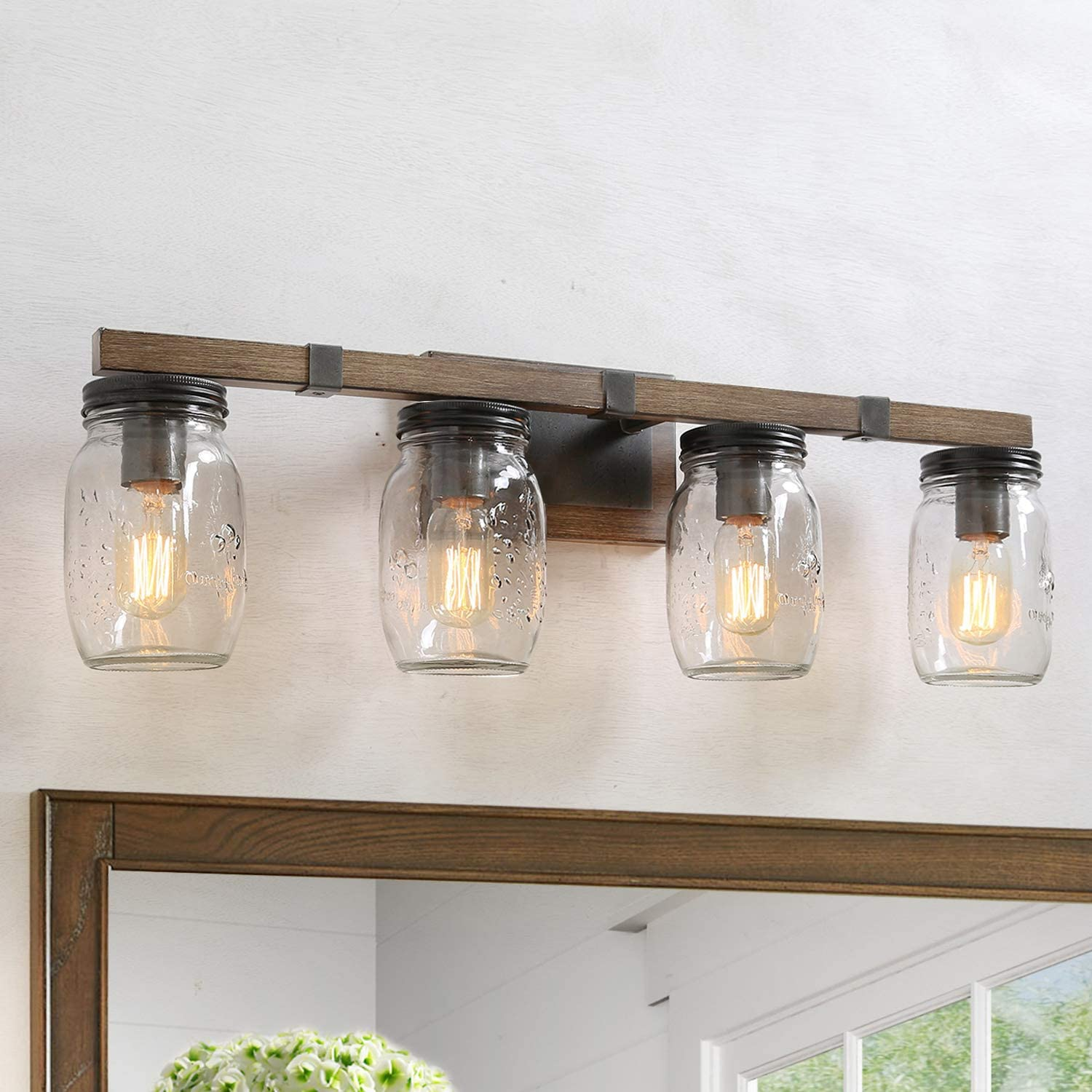 Lnc Rustic Bathroom Light Fixtures Farmhouse Vanity Lighting With Mason Jar Glass Wooden Finished 29 Inches Amazon Com