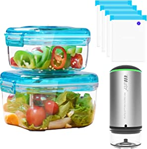VMSTR Vacuum Food Storage Containers Set with Portable Vacuum Sealer Machine and Sous Vide Bags- Preserve Food Longer, Stackable, Airtight, Great for Marinating Meat & Food