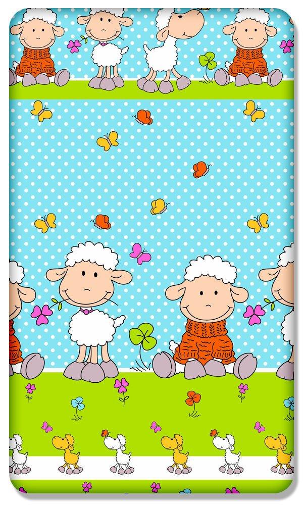 100% Baumwolle Spannbetttuch mit bedruckt Design für Baby-Junior Bett 160x 70cm, (Schaf Ecru) Babymam